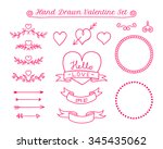 valentine day doodle elements.... | Shutterstock .eps vector #345435062
