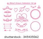 valentine day doodle elements.... | Shutterstock .eps vector #345435062