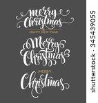 merry christmas lettering... | Shutterstock . vector #345439055