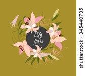 floral lily retro vintage... | Shutterstock .eps vector #345440735