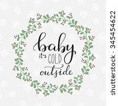winter romantic lettering.... | Shutterstock .eps vector #345454622