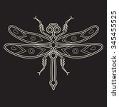 dragonfly  line art vector... | Shutterstock .eps vector #345455525