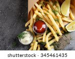 french fries in bag with sauce  ... | Shutterstock . vector #345461435
