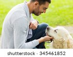family  pet  animal and people... | Shutterstock . vector #345461852