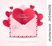 Stock vector valentines envelope with paper hearts vector illustration realistic mail or letter for mother s 345466358