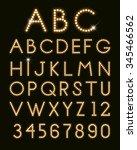 glowing letters font light bulbs | Shutterstock .eps vector #345466562
