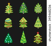 cute new year trees set.... | Shutterstock .eps vector #345468236