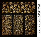 set of horizontal golden lace... | Shutterstock .eps vector #345469862