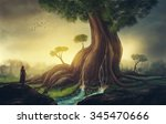 a young woman looks at a giant...   Shutterstock . vector #345470666