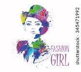 fashion girl in sketch style.... | Shutterstock .eps vector #345471992