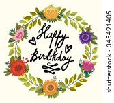 vector floral greeting card of... | Shutterstock .eps vector #345491405