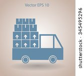 flat truck icon. vector | Shutterstock .eps vector #345495296