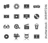 movie  film and cinema icons | Shutterstock .eps vector #345497246