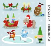 christmas and new year holiday... | Shutterstock .eps vector #345497606