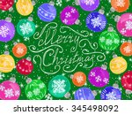 christmas balls on snowy... | Shutterstock .eps vector #345498092