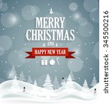 christmas greeting card on blue ... | Shutterstock .eps vector #345500216