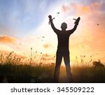 freedom concept  silhouette... | Shutterstock . vector #345509222