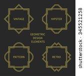 set of line retro gold frame...   Shutterstock .eps vector #345521258