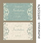 set of antique greeting cards ... | Shutterstock .eps vector #345522476