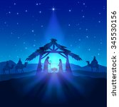 nativity scene  christmas star... | Shutterstock .eps vector #345530156