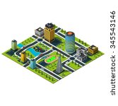 big isometric city map.... | Shutterstock .eps vector #345543146