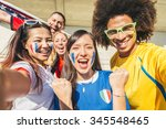 group of sport supporters at... | Shutterstock . vector #345548465