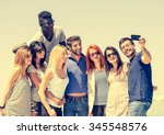 group of multi ethnic friends... | Shutterstock . vector #345548576