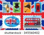 vector color uk postage stamp ... | Shutterstock .eps vector #345560402