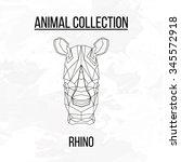 rhino rhinoceros head geometric ... | Shutterstock .eps vector #345572918