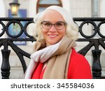 beautiful fashionable woman... | Shutterstock . vector #345584036