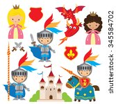 princess  knight and dragon ... | Shutterstock .eps vector #345584702