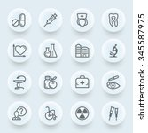 medicine flat contour icons on... | Shutterstock .eps vector #345587975