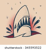 shark in the style of a... | Shutterstock .eps vector #345593522