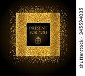 golden frame on black... | Shutterstock .eps vector #345594035