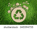 paper cut of eco on green grass | Shutterstock . vector #345594755