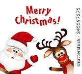 Funny Santa And Reindeer