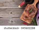 grilled beef steak with... | Shutterstock . vector #345602288