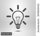 light lamp sign icon. idea bulb ... | Shutterstock .eps vector #345603422