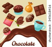 chocolate background with... | Shutterstock .eps vector #345618416