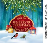 vector christmas greeting card. ... | Shutterstock .eps vector #345624326