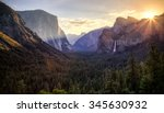 sunrise on yosemite valley ... | Shutterstock . vector #345630932