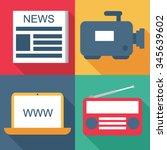 mass media icon set | Shutterstock .eps vector #345639602