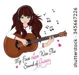 guitarist girl musician... | Shutterstock .eps vector #345667226