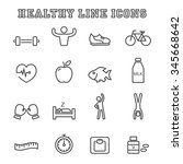 healthy line icons  mono vector ... | Shutterstock .eps vector #345668642