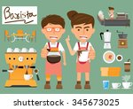 barista man and woman with set... | Shutterstock .eps vector #345673025