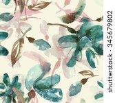 watercolor flowers seamless... | Shutterstock . vector #345679802
