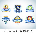 volleyball logo templates set.... | Shutterstock .eps vector #345681218