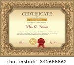 vintage certificate of... | Shutterstock .eps vector #345688862