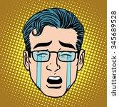 emoji crying sadness man face... | Shutterstock .eps vector #345689528