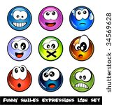 colorful set of funny smiles... | Shutterstock .eps vector #34569628
